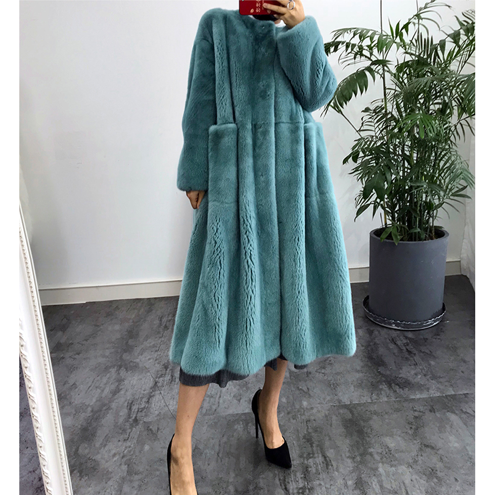 2019 New Real Mink Fur Coat Fashion Long Outwear Thick Warm Full Pelt Fur Jacket Natural Mink Fur Coats blue Plus Size Parkas