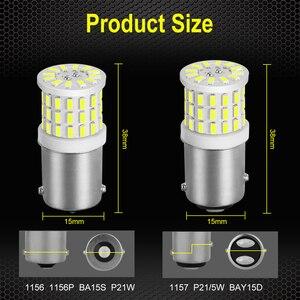 Image 4 - 2pcs קרמיקה LED 1156 BA15S P21W LED 1157 BAY15D P21/5 W LED נורות R5W 1200LM לבן רכב איתות בלם אורות 12V אוטומטי מנורה