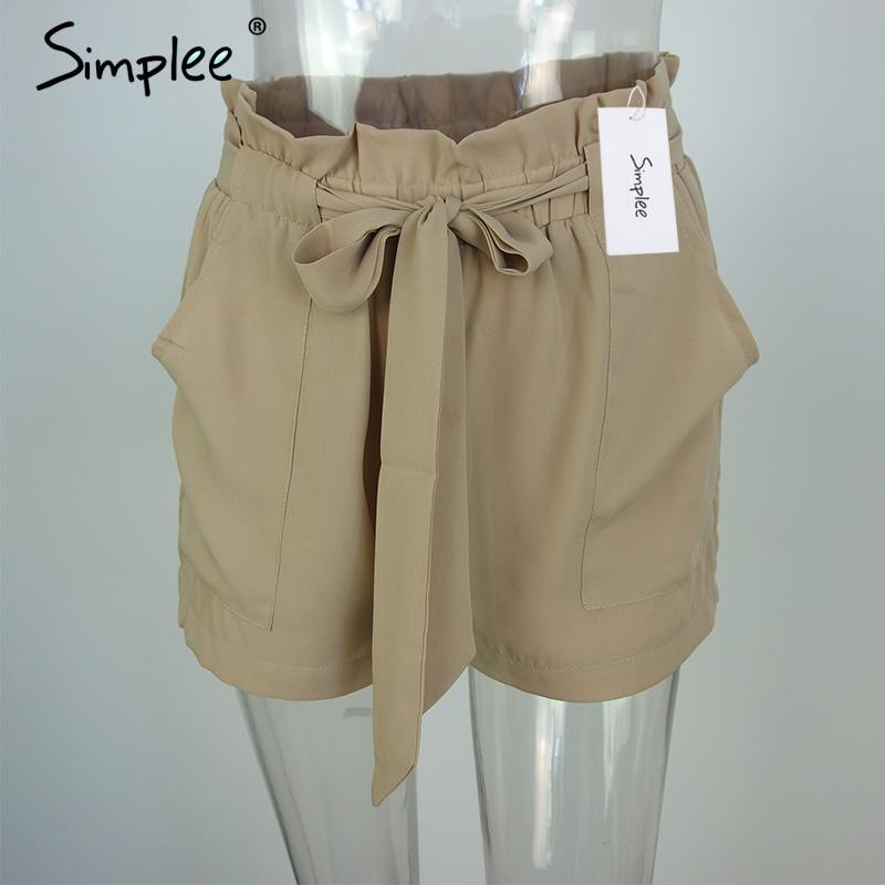 HTB1A XiNVXXXXaBaXXXq6xXFXXXe - Chiffon shorts Bow high waist  belt PTC 94