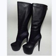 0f30d766101d1f SHOFOO chaussures, 2017 nouveau, livraison gratuite, cuir synthétique  polyuréthane noir, bottes à talons hauts, bottes hautes. T..