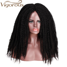 Vigorous Synthetic Afor Kinky Curly Hair Braides Dreadlock Marley Braiding Wig Black Ombre Brown for Women/Men