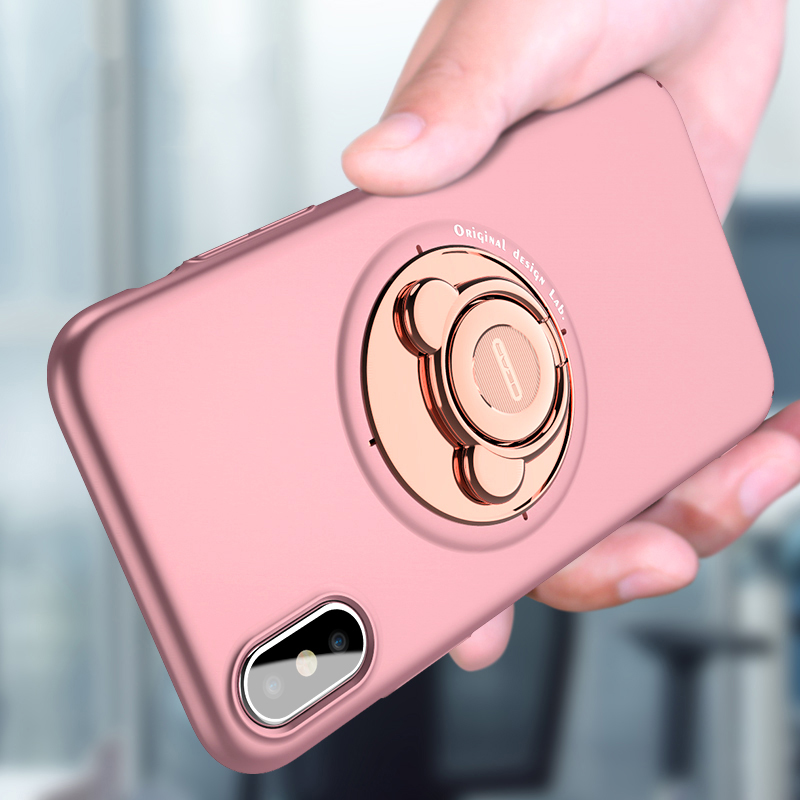 Luxury Metal Phone Holder Bear Cover Case For iPhone 7 8 Plus with Car 360 Rotation Ring Bracket Stand Case for iPhone X