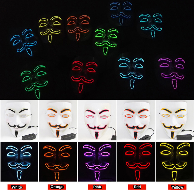 Halloween Vendetta El Wire Mask Led Cosplay Mask Full Face Costume Masks For Party Dance Light-up Glowing Masks 10 Colors Option