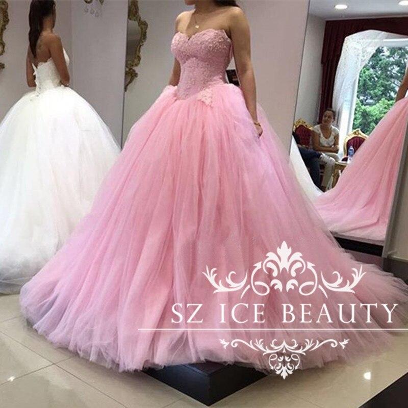 Largo Puffy vestido de Bola Rosa Vestido de Novia de Cintura Alta de ...