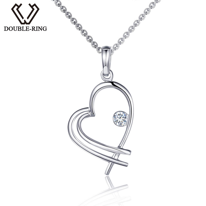 DOUBLE-RING New Women Heart Pendant 18k White Gold Diamond Pendant Fine Jewelry for Ladies Gifts CAP01826A-1 18k 750 white gold pendant gh color round lab grown moissanite double heart necklace diamond pendant necklace for women jewelry