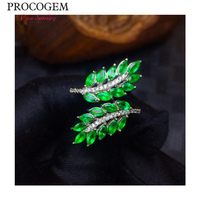Luxurious Leaf Natural Emerald Rings for Women Party more Genuine gemstones Fine jewelry 925 Sterling Silver Free shipping #583