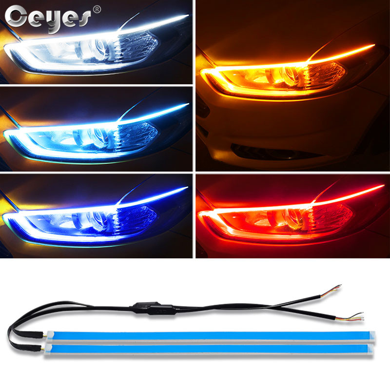 Ceyes Car Styling Day Time Flowing Light Led DRL Strip Headlight Auto Daytime Running Lamp Accessories Case For Ford For Peugeot