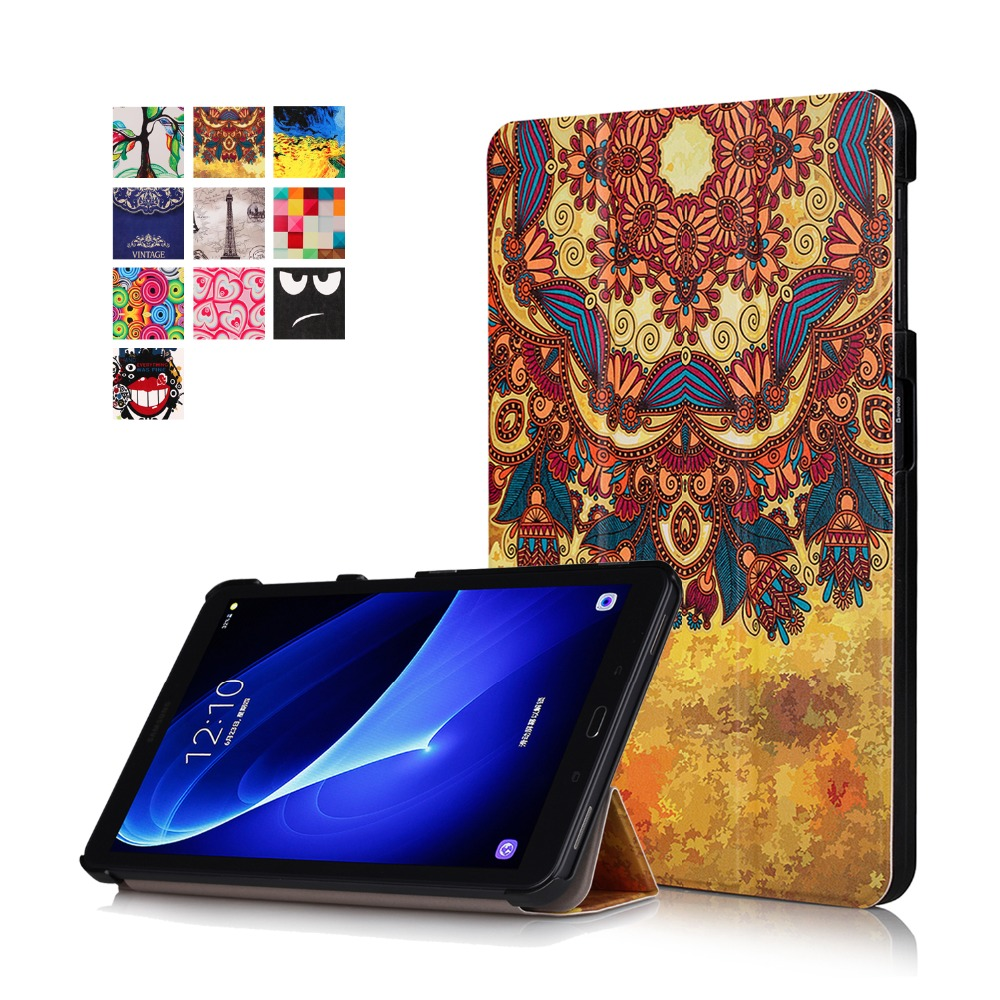 Kemile For Samsung T580 Case Coloured drawing Ultra Slim Wake Up Fold Stand Leather Cover For Sansung Galaxy Tab A 10.1 T580N