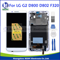 100% Tested LCD For LG Optimus G2 D800 D802 D805 F320 LCD Display Touch Screen Digitizer with Frame Full Assembly White+Tools