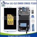 100% testado lcd para lg optimus g2 d800 d802 d805 F320 Display LCD Touch Screen Digitador com Moldura de Montagem Completa branco + Ferramentas