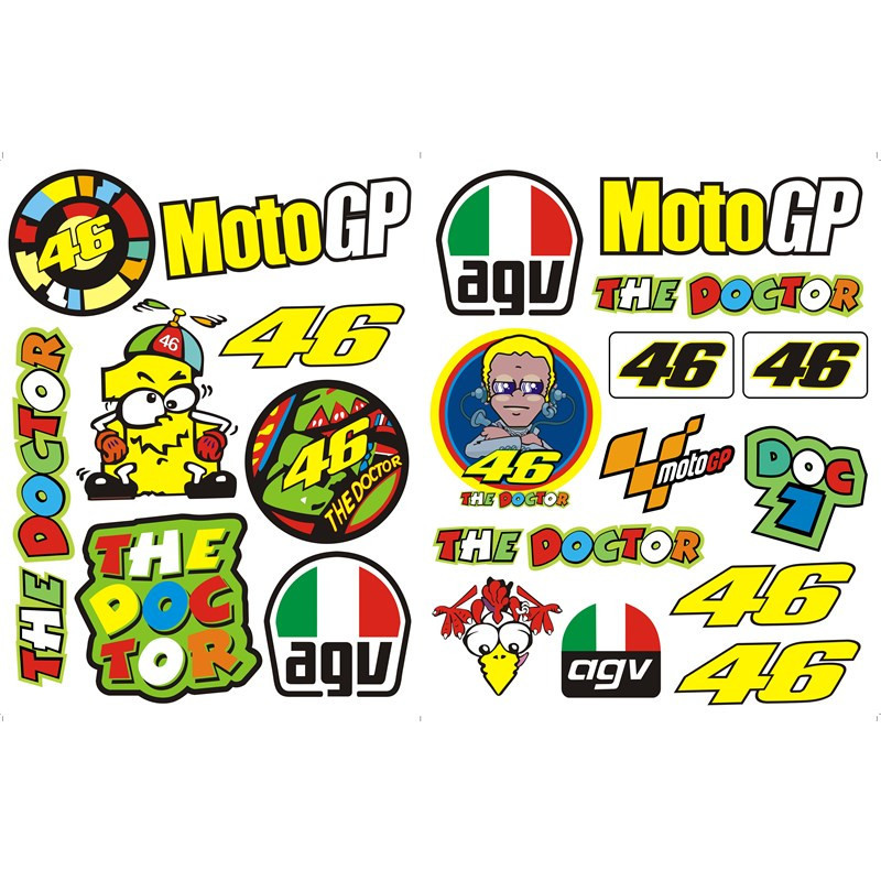 Motorcycle sticker laptop valentino rossi helmet stickers for Stickers de pared