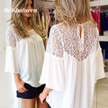 2017 verano otoño mujeres flare manga blusa de la gasa atractiva ahueca hacia fuera del cordón del hombro volver señoras camisas ocasionales flojos tops tx0014-g