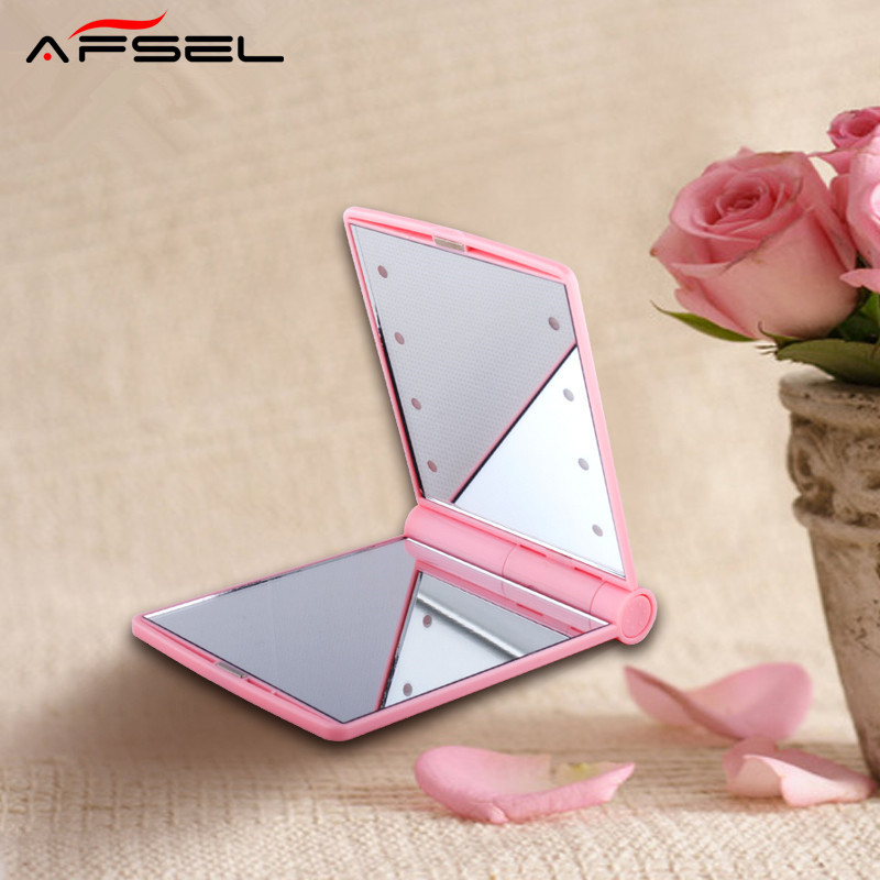 AFSEL Free shipping Lady Makeup Mirror LED Lights Lamps Cosmetic Folding Portable Compact Pocket Mirror Lighted Compact Mirror