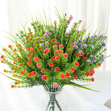 Artificial Babysbreath Flowers with Green Plastic Grass Plants for Wedding Decoration Home Garden Decor Party Office Desk Floral