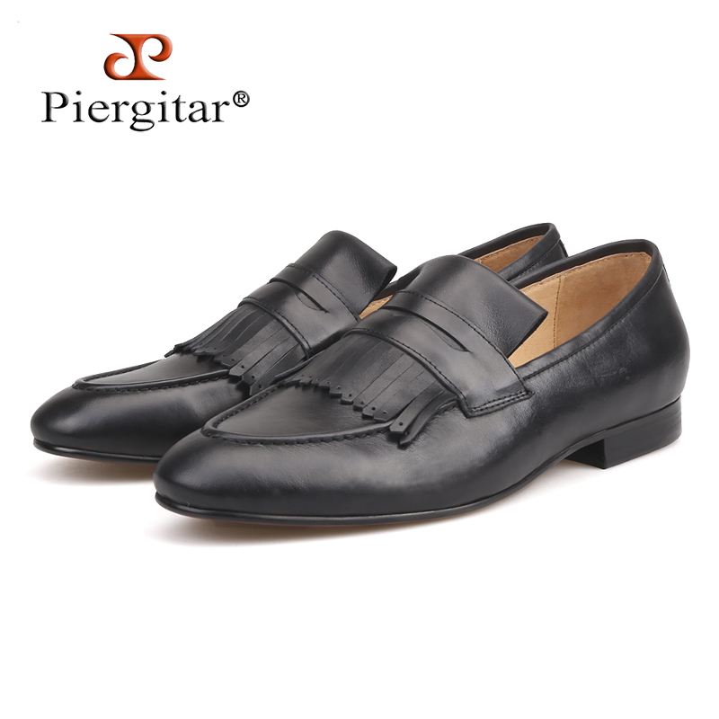 Piergitar 2018 Italian design Genuine leather men loafers Hand-made craft wedding and party slip-on men's casual shoes plus size discount 2017 men velvet loafers genuine leather slip on rivets flat casual shoes driving mocassin wedding party shoes plus size