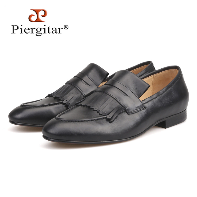 Piergitar 2018 Italian design Genuine leather men loafers Hand-made craft wedding and party slip-on men's casual shoes plus size
