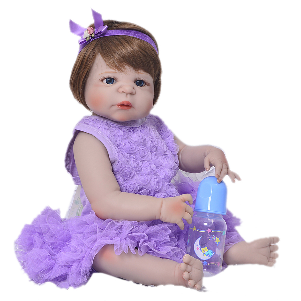 23'' Full Silicone Vinyl Reborn Baby Dolls Realistic Girl bebe Wear Dress Lifelike Princess Babies Doll For Toddler Xmas Gifts npk lifelike 16 soft silicone reborn baby dolls truly pretty girl reborns realistic babies doll wear dress toddler playmate