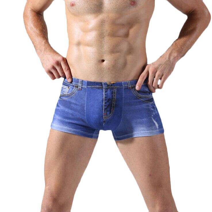 Beliebte Marke Lasperal Sexy Unterwäsche 3d Männer Klassische Druck Baumwolle Spandex Unterhosen Männer Boxer Denim-wie Denim Jeans Boxer Shorts Unterwäsche Herren-unterwäsche Boxer
