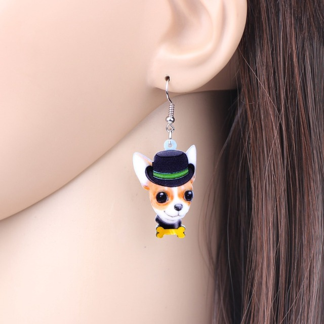 Creative Funny Dog Patterned Drop Earrings