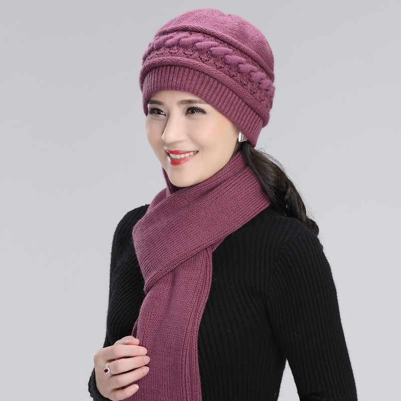 Wool Knitted Hat Women Winter Warm Elegant Scarf Grandmother Mother Christmas Gift Middle-aged Elderly Female Fashion Cap H7165