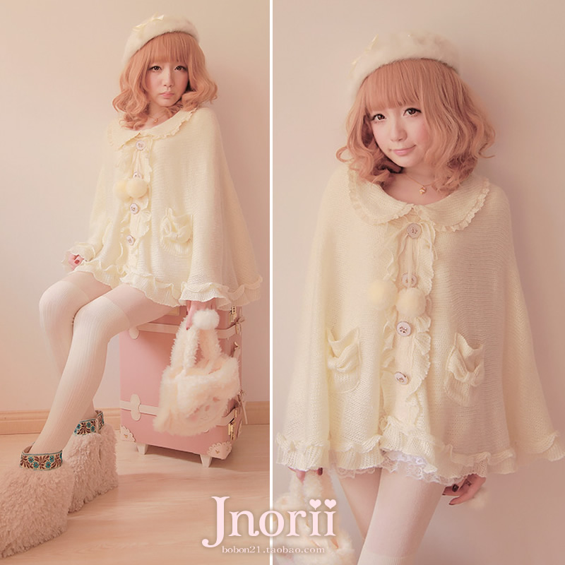 Creative Princess Sweet Lolita Pink And Blue Sweater Bobon21 Long Jacket With Cap Thickening Knitted Girl Sense Student Style C1419 Sweaters
