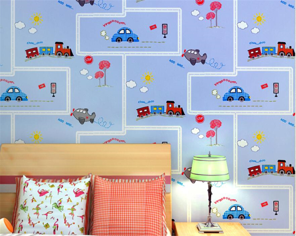 Beibehang High quality children room wallpaper cartoon children room car wallpaper boy girl bedroom full floor wallpaper behang beibehang children room non woven wallpaper wallpaper blue stripes car environmental health boy girl study bedroom wallpaper