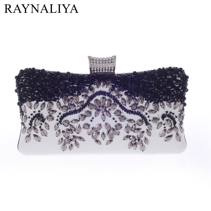 Casual Floral Beaded Women Evening Bag Diamonds Finger Rings Small Purse Day Clutches Handbags Black Wedding Bags Smyxst-e0162 стоимость