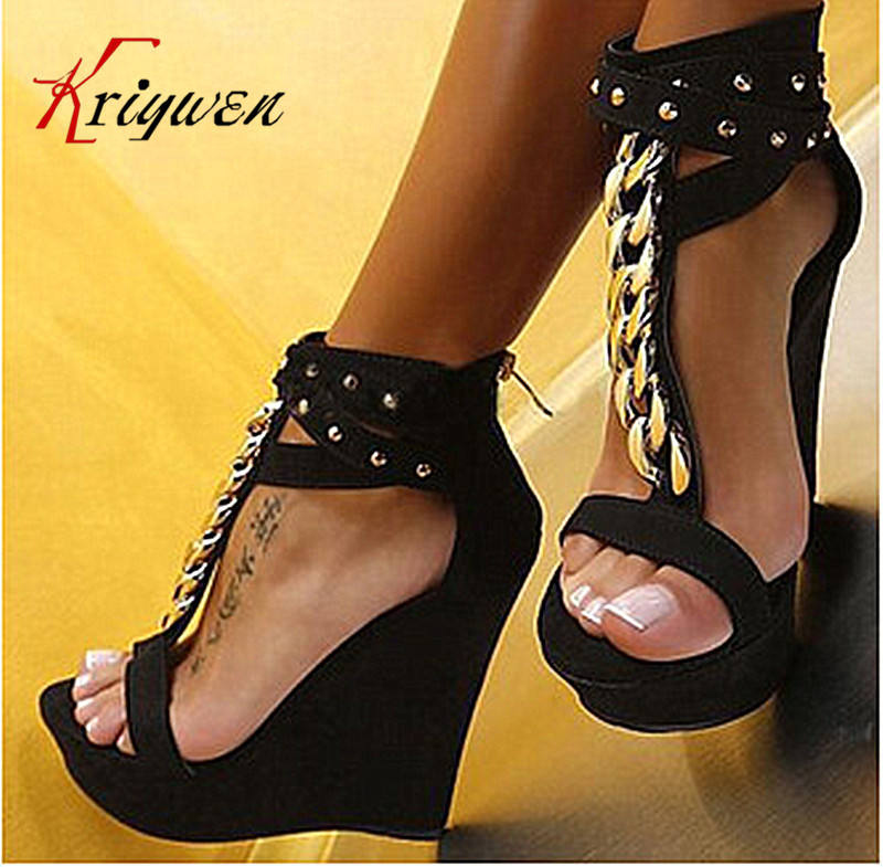 6af7cb9a2aef Ultra 15cm wedges high heels lady sandals 2016 Plus size 35-41Summer new  arrival Sexy Women cowhide rivets Shoes genuine leather