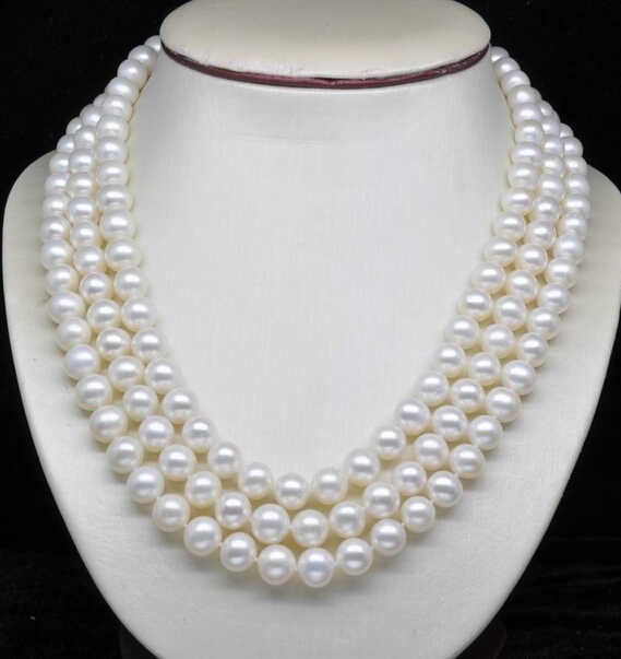 FREE SHIPPING NEWNatural 8-9MM 3-Strand White Akoya Cultured Pearl Necklace 18