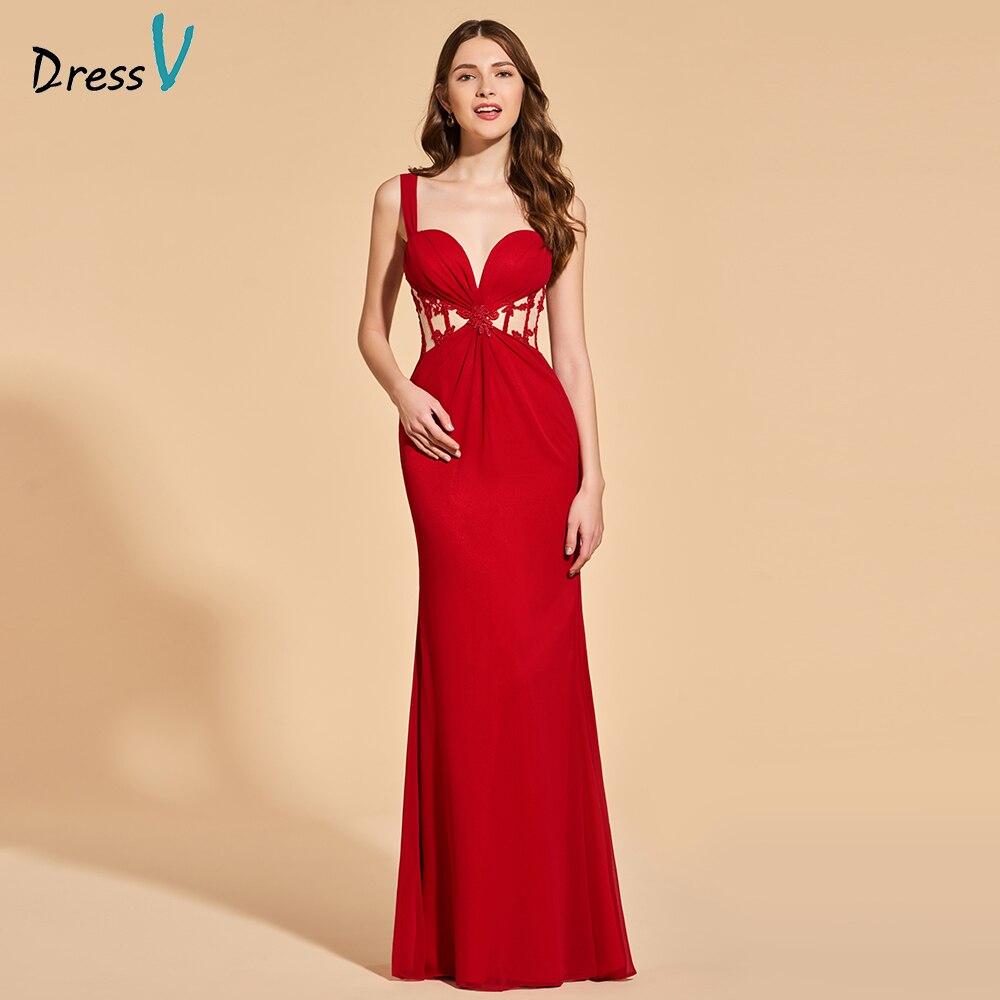 Dressv Party-Gown Burgundy Evening Elegant Long Sleeveless Lace Sheath Straps Zipper-Up
