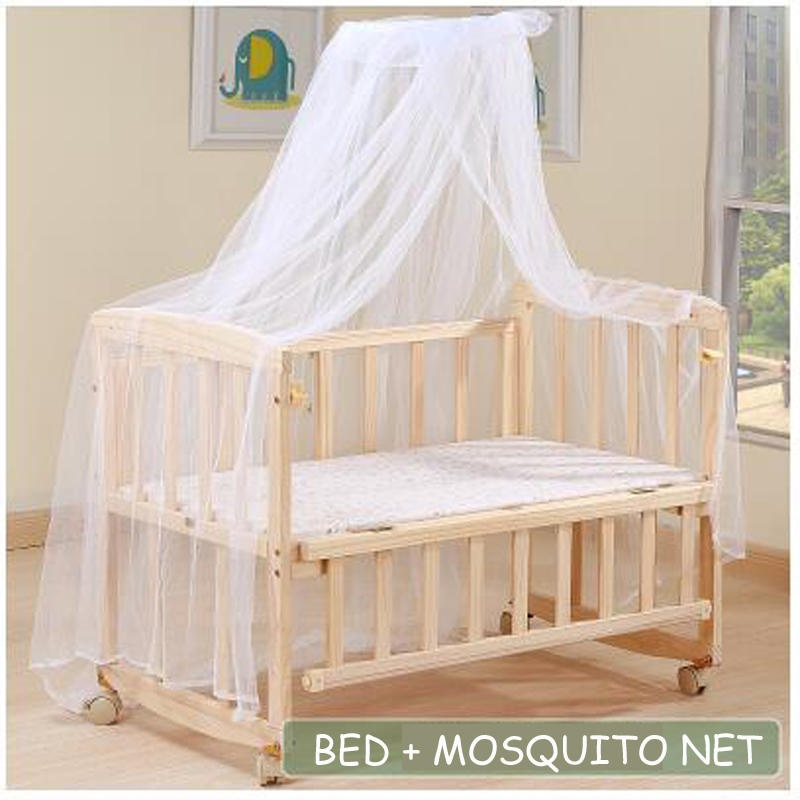 Wood Baby Cradle Rocking Crib Bassinet Bed Sleeper Portable Nursery S/ L Type