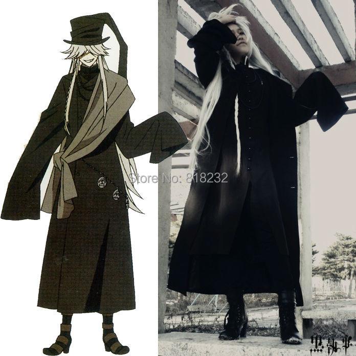 Black Butler Kuroshitsuji Undertaker Outwear Coat Jacket Greatcoat Uniform Outfit Anime Cosplay Costume With Hat