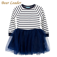 Bear Leader Girls Dress 2016 Casual Style Striped Princess Dress Long Sleeve Blue And White Stripes