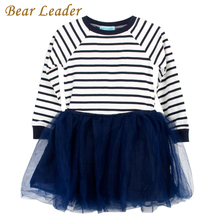 Bear Leader Girls Dress 2017 Casual Style Striped Princess Dress Long-sleeve Blue and White Stripes Mesh Dress Children Clothing