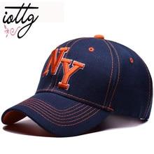 b7e7663506c2d IOTTG Unisex gorra de béisbol de algodón mujeres sombreros NY gorra letras  hombres ajustable al aire libre curva Snapback gorra .