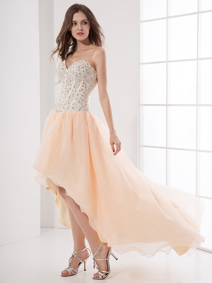 2017 Coral Beaded High Low Homecoming Dresses Short Teens Sweetheart ...