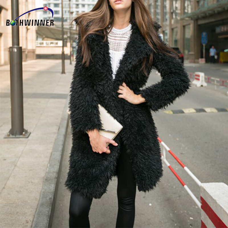 Bothwinner Autumn Winter Coat Big Fur Collar Elegant Long Outwear Winter Coat Long Sleeve Warm Winter Fur Wool Coat