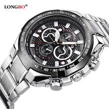 Longbo Hombres de Acero Inoxidable Banda Militar Deportes Relojes de Cuarzo Dial Reloj De Los Hombres Macho Ocio Reloj Relogio masculino 8830