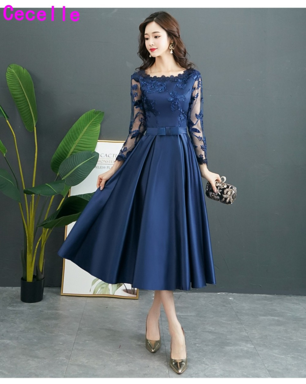 Vintage Tea Length Navy Blue Short Modest   Bridesmaid     Dresses   With Long Sleeves A-line Satin Lace   Bridesmaid   Wedding Party   Dress