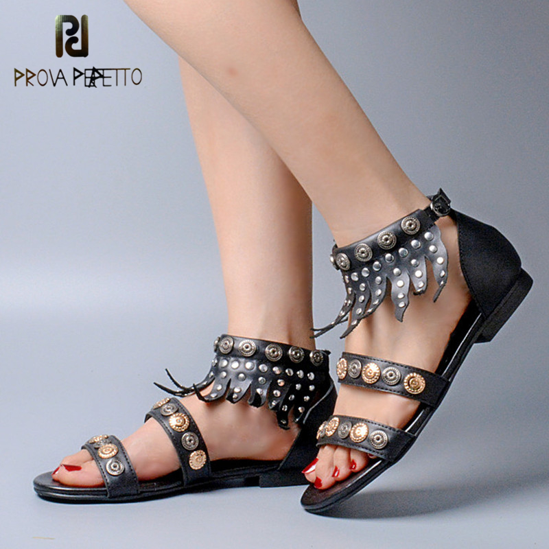 Prova Perfetto Euramerican Summer Gladiator Sandals Women Tassel Flat Nation Sandal Shoes Genuine Leather Rivets Zip Shoe Woman