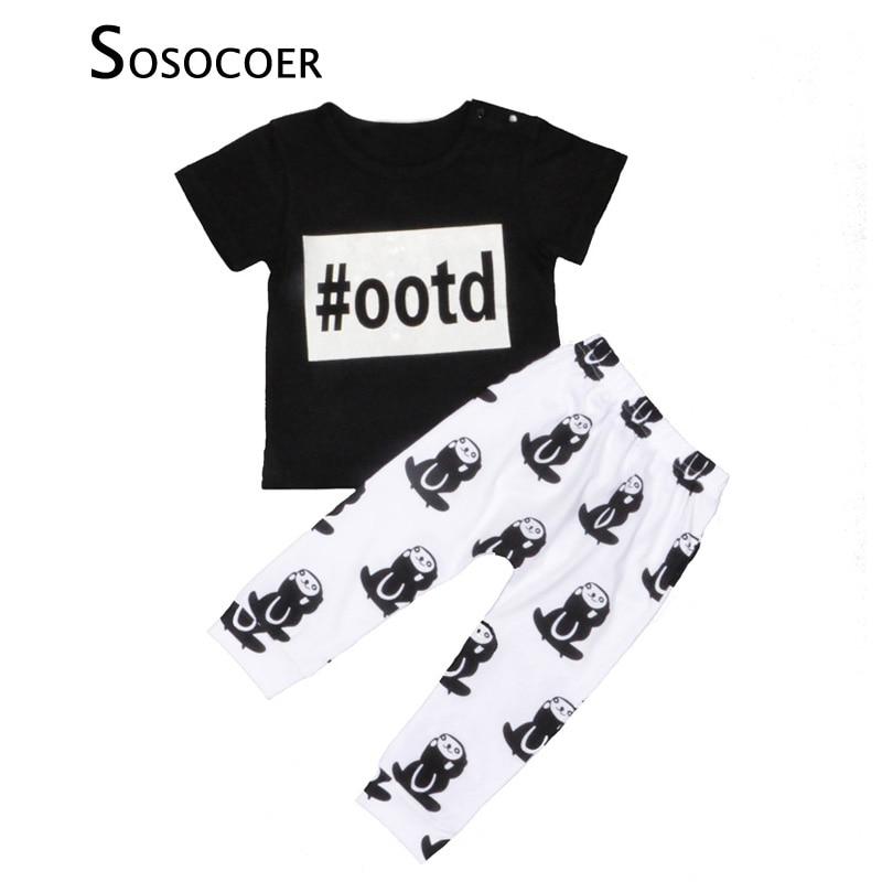 SOSOCOER Boy Clothing Sets Cartoon Short Sleeve Kids Baby Clothes Summer Letter T-shirt+Monkey 2pcs Animal Boys Clothing Set