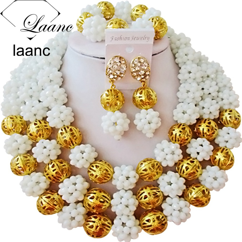 Brand Laanc White Crystal Ball Necklace Big Chuky Nigerian Wedding Beads African Jewelry Set Indian Bridal Jewellery AL214