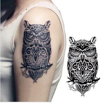 Tatuajes temporales grandes búho negro brazo transferencia falsa - Tatuaje y arte corporal