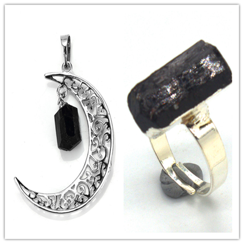 Kraft-beads Silver Plated Crescent Moon with Irregular Shape Stone Pendant Black Tourmaline Ring Jewelry Sets
