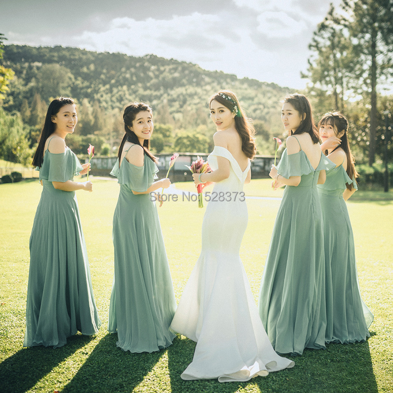 YNQNFS BD10 Chiffon Off the Shoulder Ruffles Wedding Party   Dress   Violet Light Green   Bridesmaid     Dresses   Long Real Photos