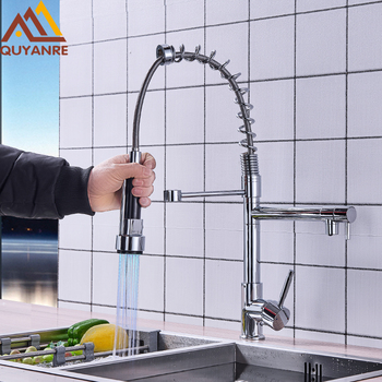 LED Chrome Spring Kitchen Faucet LED Pull Down Spray Dual Spouts 360 Roation Mixer Tap For Kitchen Hot Cold Water Sink Mixer Tap