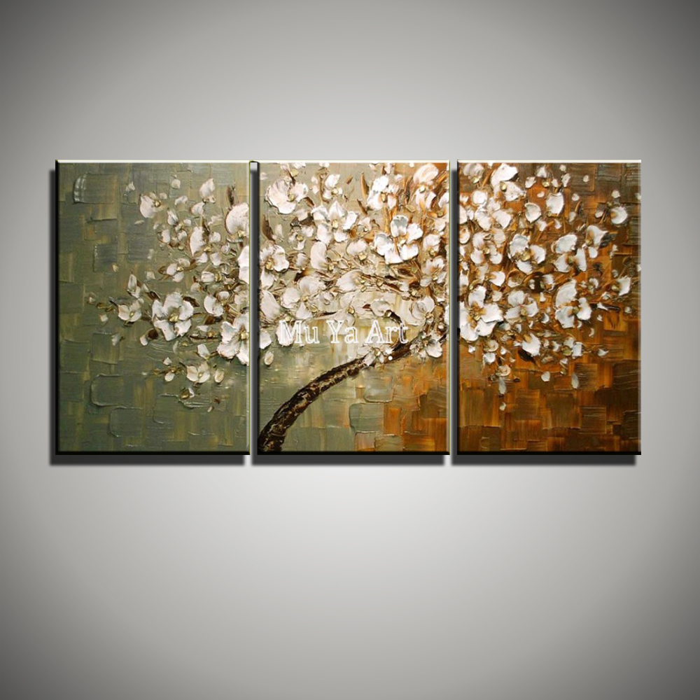 Large Abstract modern 3 piece oil font b knife b font painting canvas Flower tree handmade