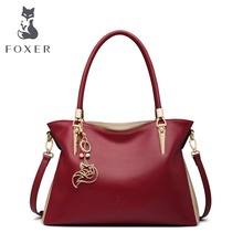 FOXER Brand Cowhide Leather Women Handbag & Shoulder Bag Fashion Female Totes Lady High Quality Totes Women's Crossbody Bags