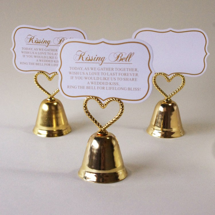 gold love bell wedding place card holder 20pcslot free shipping table name picture holder