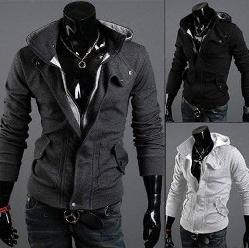 Mens Sexy Slim Fit Hooded Hoodies Jackets Coats Sweatshirt Sweater Fleece 3101